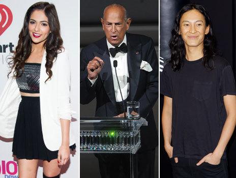 De izquierda a derecha, los diseñadores Bethany Mota, Oscar de la Renta y Alexander Wang.