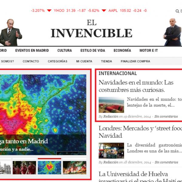 Cabecera y primera sección – noticia o reportaje