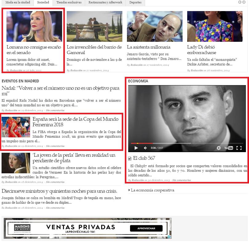 Sección tercera - noticia o reportaje en el corredor, categoría o video